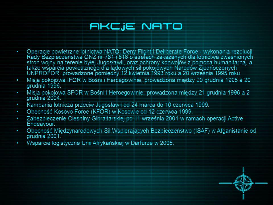 Akcje NATO Operacje powietrzne lotnictwa NATO: Deny Flight i Deliberate Force - wykonania rezolucji Rady Bezpieczeństwa ONZ nr 781 i 816 o strefach za