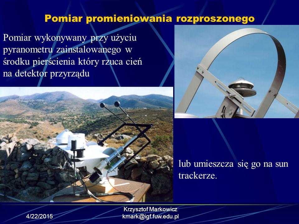 4/22/2015 Krzysztof Markowicz kmark@igf.fuw.edu.pl Pomiar promieniowania rozproszonego Pomiar wykonywany przy użyciu pyranometru zainstalowanego w śro