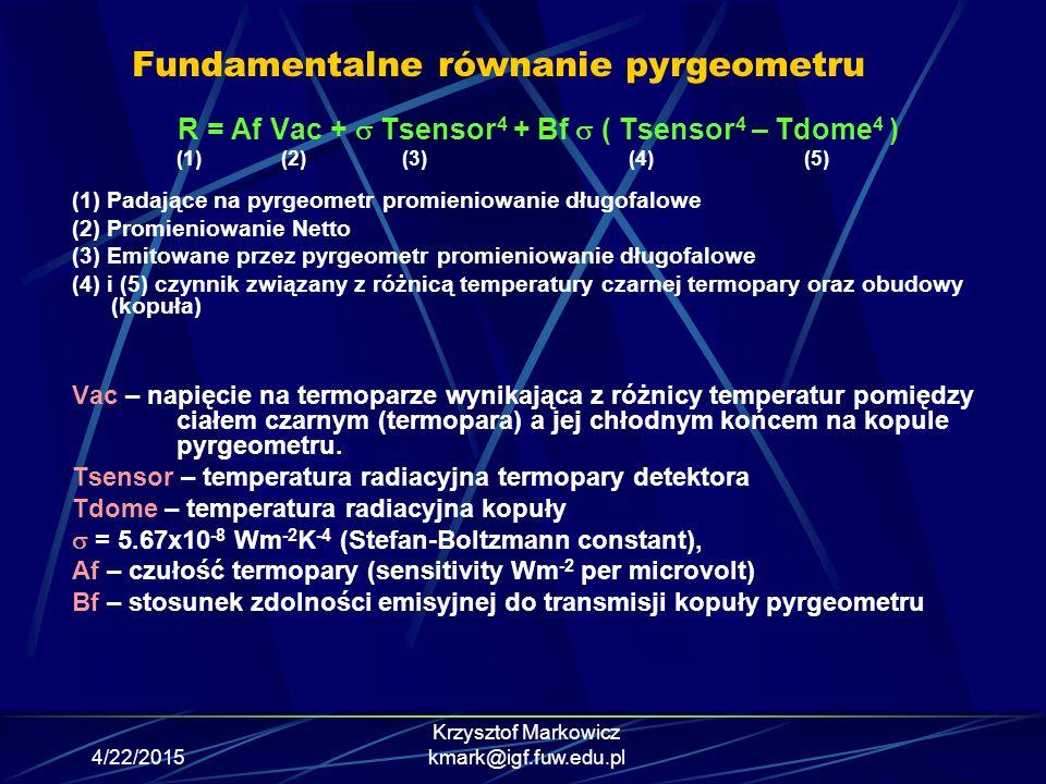 4/22/2015 Krzysztof Markowicz kmark@igf.fuw.edu.pl Fundamentalne równanie pyrgeometru R = Af Vac +  Tsensor 4 + Bf  ( Tsensor 4 – Tdome 4 ) (1)(2) (
