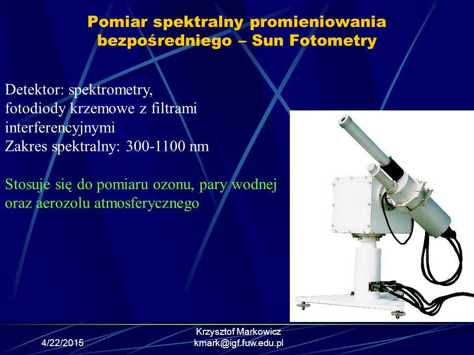 4/22/2015 Krzysztof Markowicz kmark@igf.fuw.edu.pl Pomiar spektralny promieniowania bezpośredniego – Sun Fotometry Detektor: spektrometry, fotodiody k