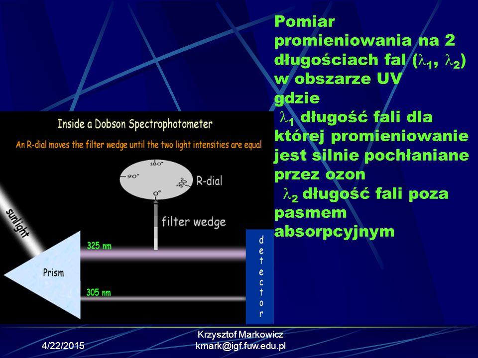 4/22/2015 Krzysztof Markowicz kmark@igf.fuw.edu.pl Pomiar promieniowania na 2 długościach fal ( 1, 2 ) w obszarze UV gdzie 1 długość fali dla której p