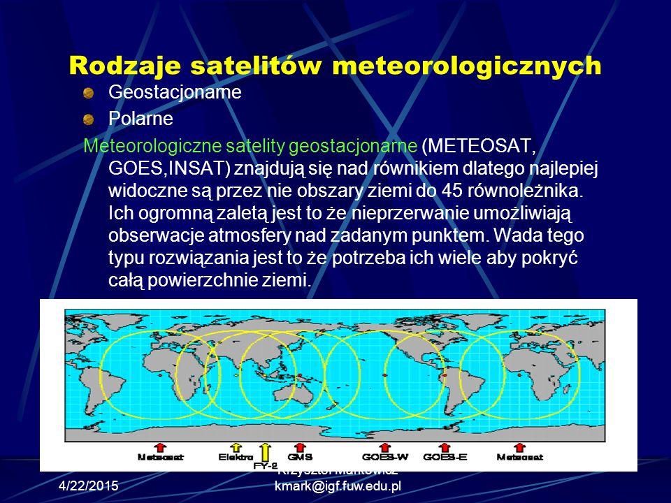 4/22/2015 Krzysztof Markowicz kmark@igf.fuw.edu.pl Rodzaje satelitów meteorologicznych Geostacjonarne Polarne Meteorologiczne satelity geostacjonarne