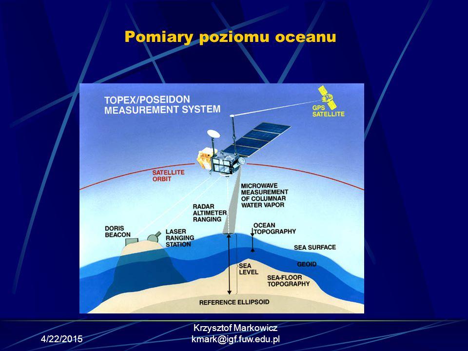 4/22/2015 Krzysztof Markowicz kmark@igf.fuw.edu.pl Pomiary poziomu oceanu