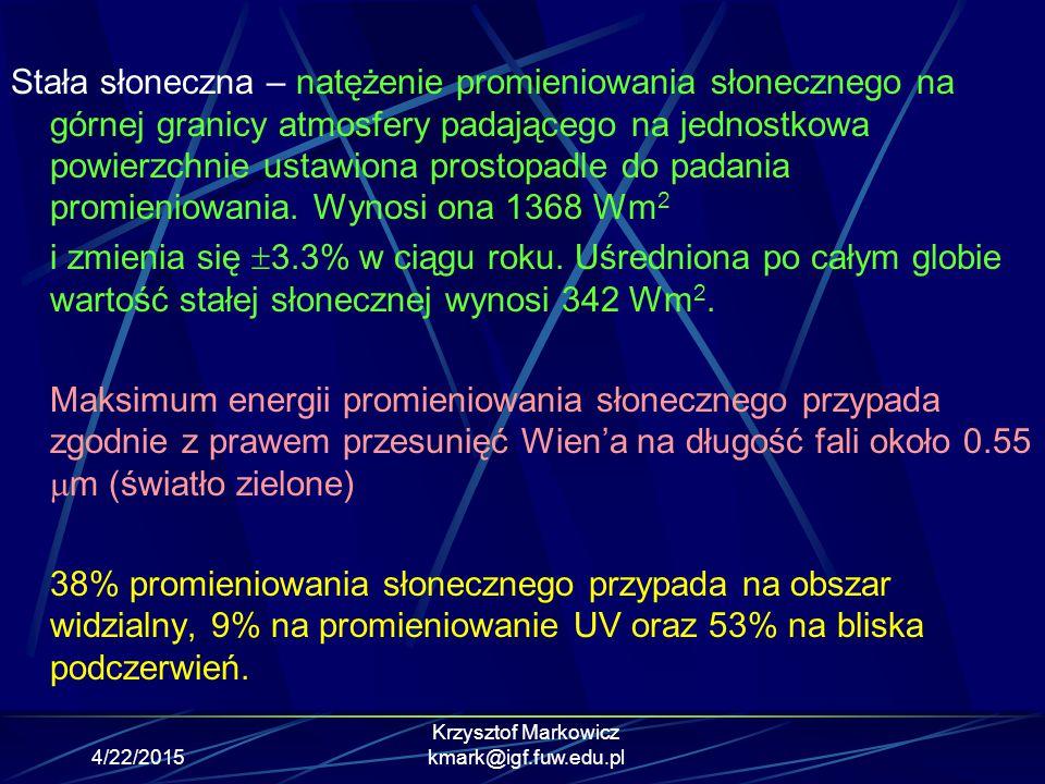 4/22/2015 Krzysztof Markowicz kmark@igf.fuw.edu.pl Bilans promieniowania na powierzchni Ziemi B=S+D+F a -(R z +F z ) Gdzie S - krótkofalowe promieniowanie bezpośrednie docierające do powierzchni ziemi D – krótkofalowe promieniowanie rozproszone R z - krótkofalowe promieniowanie odbite od powierzchni ziemi.