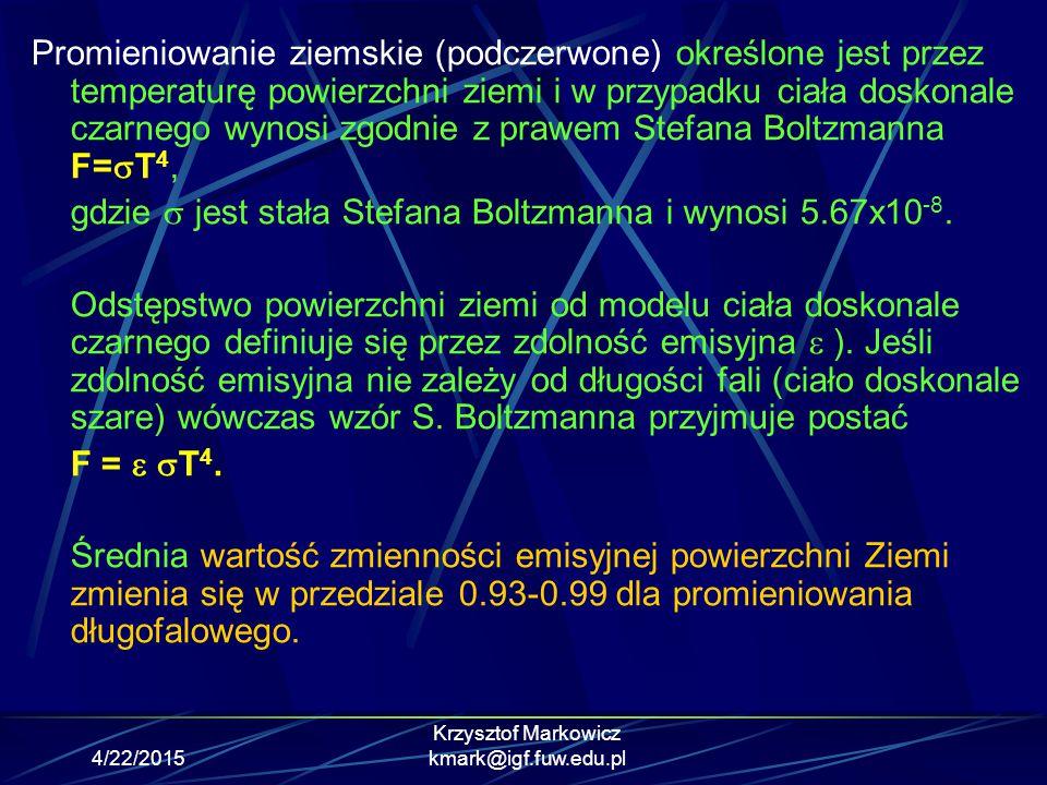 4/22/2015 Krzysztof Markowicz kmark@igf.fuw.edu.pl Pomiar spektralny promieniowania bezpośredniego – Sun Fotometry Detektor: spektrometry, fotodiody krzemowe z filtrami interferencyjnymi Zakres spektralny: 300-1100 nm Stosuje się do pomiaru ozonu, pary wodnej oraz aerozolu atmosferycznego