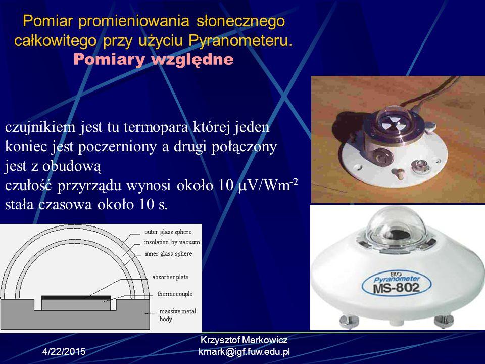 4/22/2015 Krzysztof Markowicz kmark@igf.fuw.edu.pl Pomiary budżetu energetycznego na szczycie atmosfery- The Earth Radiation Budget Experiment (ERBE) Pomiary przychodzącego oraz odbijanego przez Ziemie promieniowania słonecznego oraz wychodzącego z atmosfery promieniowania ziemskiego (OLR) ERBE instrument na satelitach NOAA 9 (1984) oraz NOAA 10 (1986) CERES udoskonalony następca ERBE na satelitach TRMM (1997) oraz TERRA (1999) oraz AQUA (2002)