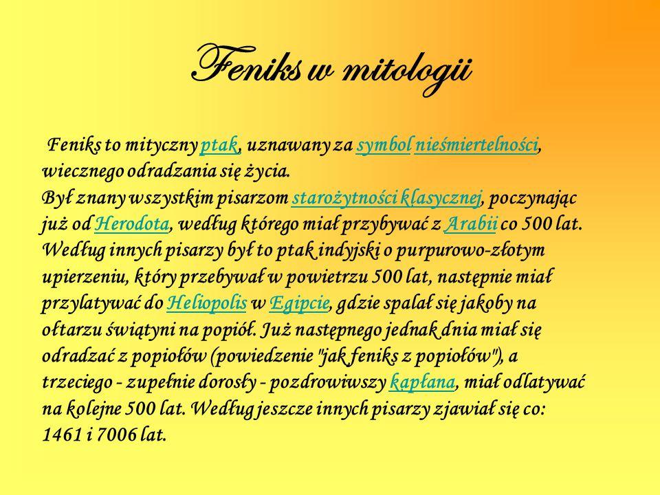 Feniks w mitologii Feniks to mityczny ptak, uznawany za symbol nieśmiertelności, wiecznego odradzania się życia.ptaksymbolnieśmiertelności Był znany w