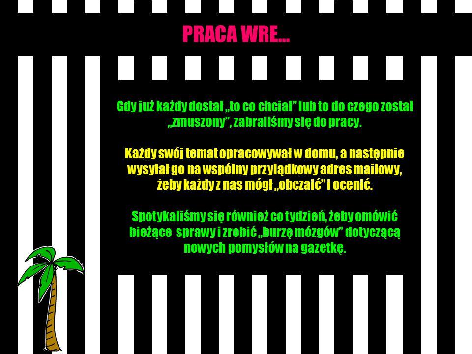 """PRACA WRE… Gdy już każdy dostał """"to co chciał lub to do czego został """"zmuszony , zabraliśmy się do pracy."""