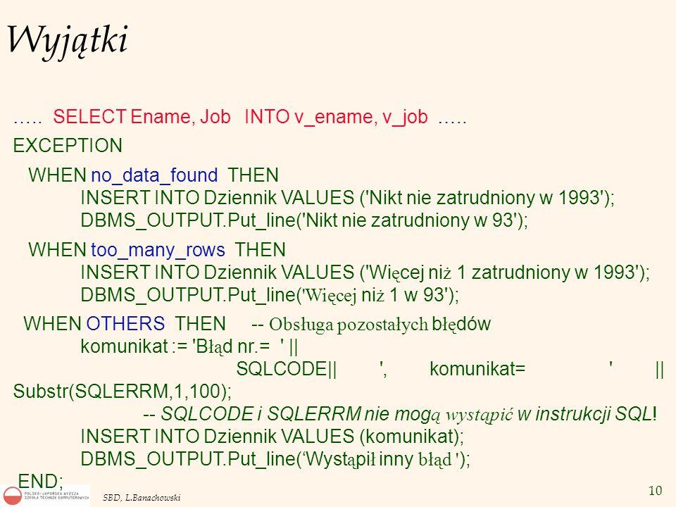 10 SBD, L.Banachowski Wyjątki ….. SELECT Ename, Job INTO v_ename, v_job …..
