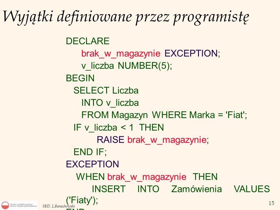15 SBD, L.Banachowski Wyjątki definiowane przez programistę DECLARE brak_w_magazynie EXCEPTION; v_liczba NUMBER(5); BEGIN SELECT Liczba INTO v_liczba FROM Magazyn WHERE Marka = Fiat ; IF v_liczba < 1 THEN RAISE brak_w_magazynie; END IF; EXCEPTION WHEN brak_w_magazynie THEN INSERT INTO Zamówienia VALUES ( Fiaty ); END;