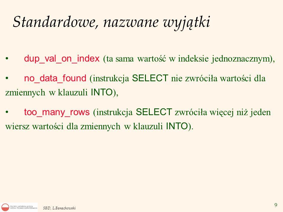 9 SBD, L.Banachowski Standardowe, nazwane wyjątki dup_val_on_index (ta sama wartość w indeksie jednoznacznym), no_data_found (instrukcja SELECT nie zwróciła wartości dla zmiennych w klauzuli INTO ), too_many_rows (instrukcja SELECT zwróciła więcej niż jeden wiersz wartości dla zmiennych w klauzuli INTO ).