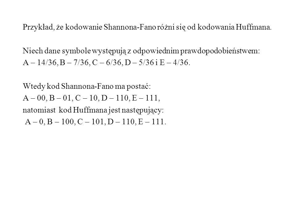 Przykład, że kodowanie Shannona-Fano różni się od kodowania Huffmana. Niech dane symbole występują z odpowiednim prawdopodobieństwem: A – 14/36, B – 7