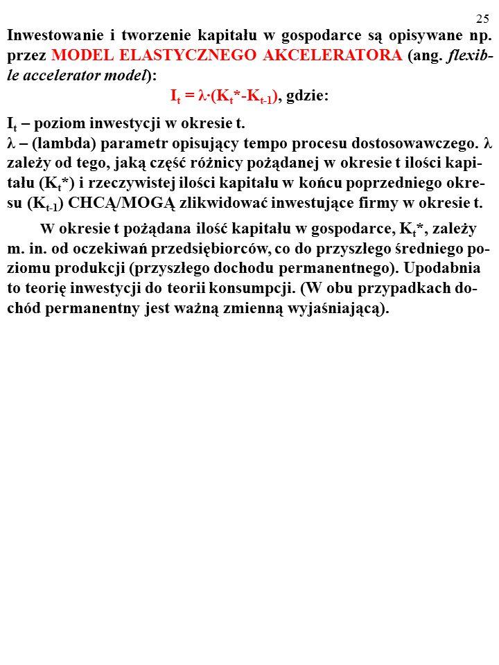 24 Po pewnym czasie* zwiększony strumień inwestycji, I 1 > I 0, skutkuje powstaniem w firmach pożądanego zasobu kapitału K 1 (K 1 >K 0 ).