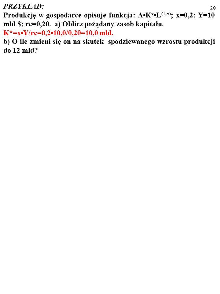 28 PRZYKŁAD: Produkcję w gospodarce opisuje funkcja: AK xL (1-x) ; x=0,2; Y=10 mld $; rc=0,20.