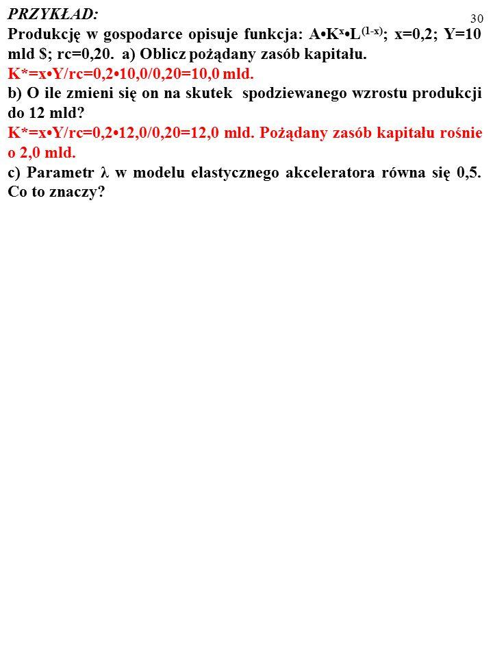 29 PRZYKŁAD: Produkcję w gospodarce opisuje funkcja: AK xL (1-x) ; x=0,2; Y=10 mld $; rc=0,20.