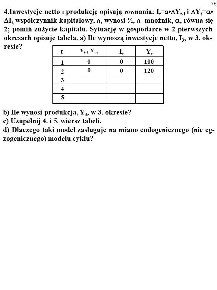75 3. Produkcję w gospodarce opisuje funkcja: AK xL (1-x) ; x=0,3; Y=5 mld $; rc=0,12.