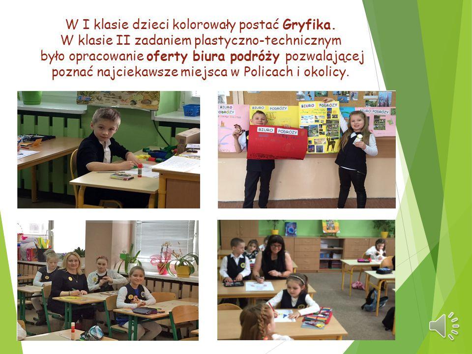 W I klasie dzieci kolorowały postać Gryfika. W klasie II zadaniem plastyczno-technicznym było opracowanie oferty biura podróży pozwalającej poznać naj