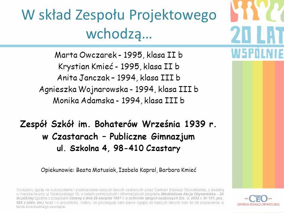 Marta Owczarek - 1995, klasa II b Krystian Kmieć - 1995, klasa II b Anita Janczak – 1994, klasa III b Agnieszka Wojnarowska - 1994, klasa III b Monika