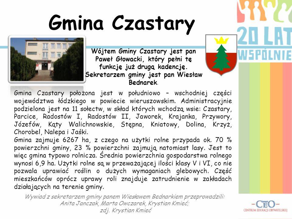 Gmina Czastary położona jest w południowo – wschodniej części województwa łódzkiego w powiecie wieruszowskim. Administracyjnie podzielona jest na 11 s