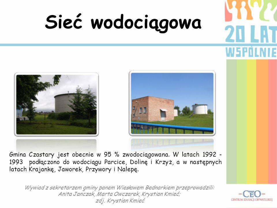 Sieć wodociągowa Gmina Czastary jest obecnie w 95 % zwodociągowana. W latach 1992 - 1993 podłączono do wodociągu Parcice, Dolinę i Krzyż, a w następny