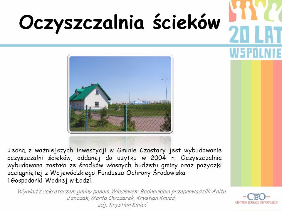 Oczyszczalnia ścieków Jedną z ważniejszych inwestycji w Gminie Czastary jest wybudowanie oczyszczalni ścieków, oddanej do użytku w 2004 r. Oczyszczaln