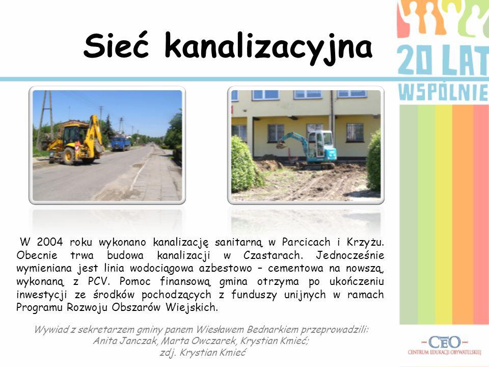 Sieć kanalizacyjna W 2004 roku wykonano kanalizację sanitarną w Parcicach i Krzyżu. Obecnie trwa budowa kanalizacji w Czastarach. Jednocześnie wymieni