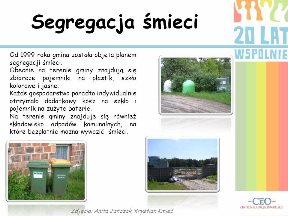 Segregacja śmieci Od 1999 roku gmina została objęta planem segregacji śmieci. Obecnie na terenie gminy znajdują się zbiorcze pojemniki na plastik, szk