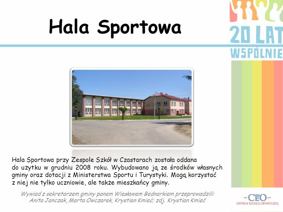 Hala Sportowa Hala Sportowa przy Zespole Szkół w Czastarach została oddana do użytku w grudniu 2008 roku. Wybudowano ją ze środków własnych gminy oraz