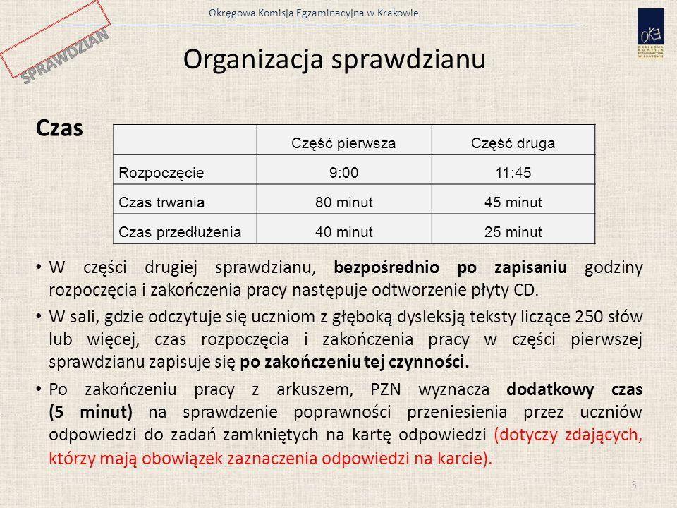 Okręgowa Komisja Egzaminacyjna w Krakowie Organizacja sprawdzianu Czas W części drugiej sprawdzianu, bezpośrednio po zapisaniu godziny rozpoczęcia i zakończenia pracy następuje odtworzenie płyty CD.