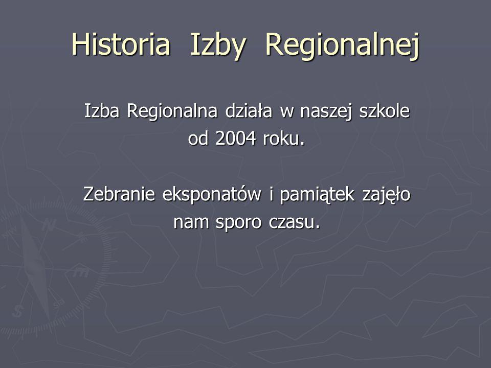 Historia Izby Regionalnej Izba Regionalna działa w naszej szkole od 2004 roku.