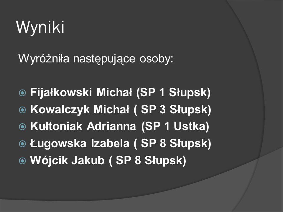 Wyniki Wyróżniła następujące osoby:  Fijałkowski Michał (SP 1 Słupsk)  Kowalczyk Michał ( SP 3 Słupsk)  Kułtoniak Adrianna (SP 1 Ustka)  Ługowska Izabela ( SP 8 Słupsk)  Wójcik Jakub ( SP 8 Słupsk)