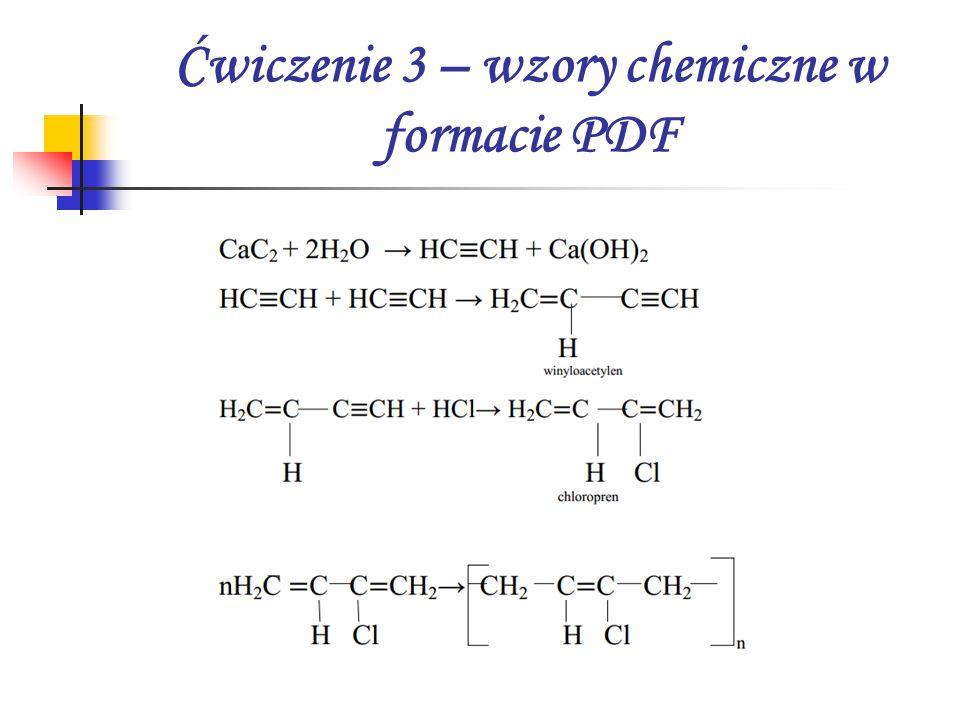 Ćwiczenie 3 – wzory chemiczne w formacie PDF