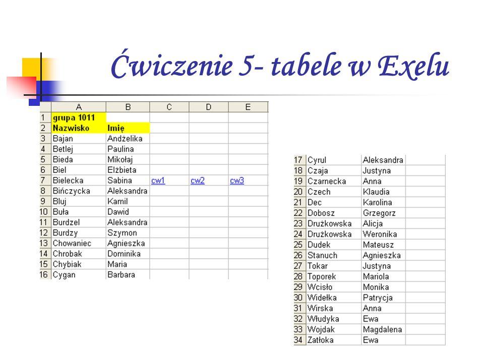 Ćwiczenie 5- tabele w Exelu