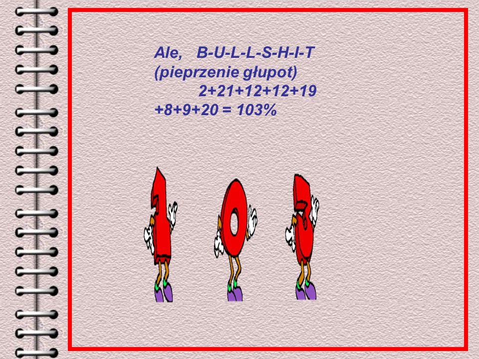 Ale, B-U-L-L-S-H-I-T (pieprzenie głupot) 2+21+12+12+19 +8+9+20 = 103%