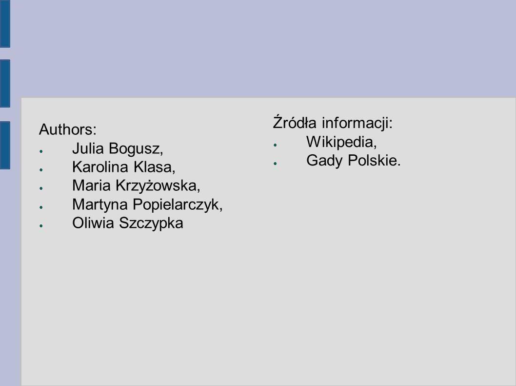 Authors: ● Julia Bogusz, ● Karolina Klasa, ● Maria Krzyżowska, ● Martyna Popielarczyk, ● Oliwia Szczypka Źródła informacji: ● Wikipedia, ● Gady Polski