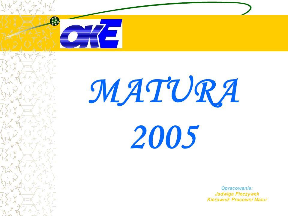 MATURA 2005  2005 – licea ogólnokształcące i licea profilowane  2006 – technika, uzupełniające licea ogólnokształcące  2007 – technika uzupełniające
