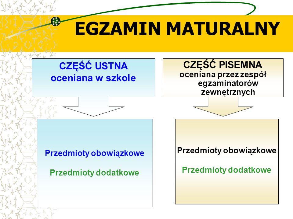EGZAMIN MATURALNY CZĘŚĆ PISEMNA oceniana przez zespół egzaminatorów zewnętrznych CZĘŚĆ USTNA oceniana w szkole Przedmioty obowiązkowe Przedmioty dodat