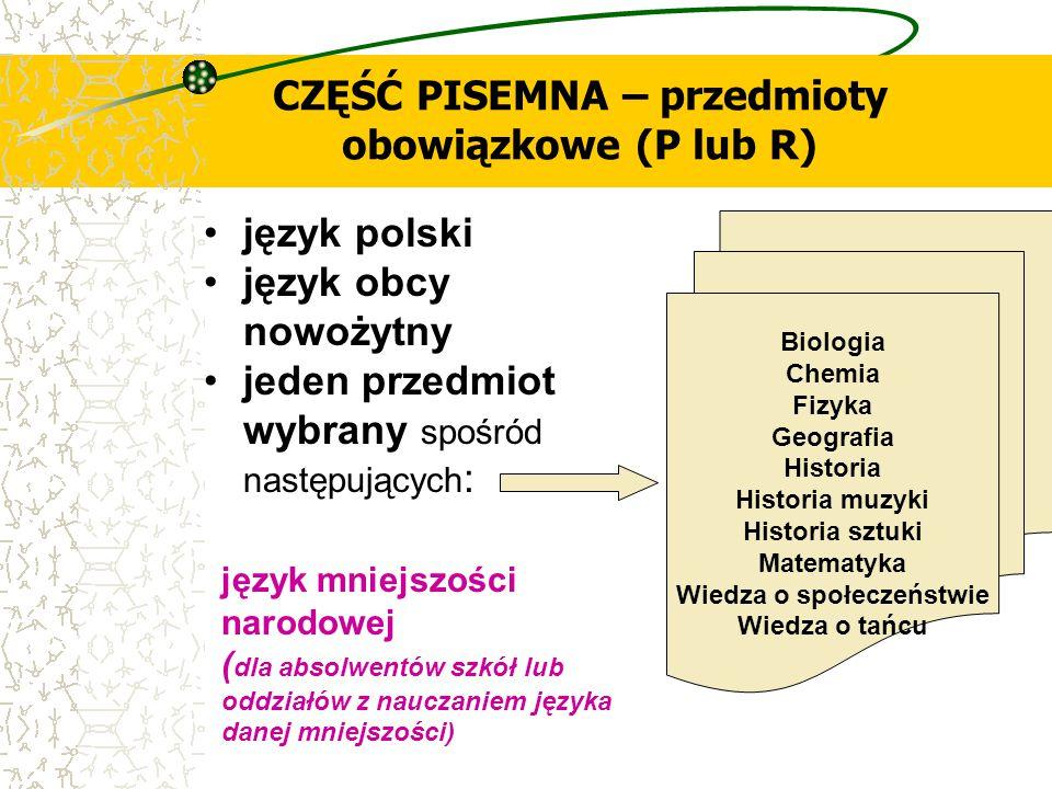 CZĘŚĆ PISEMNA – przedmioty obowiązkowe (P lub R) język polski język obcy nowożytny jeden przedmiot wybrany spośród następujących : Biologia Chemia Fiz