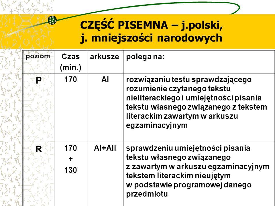 CZĘŚĆ PISEMNA – j.polski, j. mniejszości narodowych poziom Czas (min.) arkuszepolega na: P 170AIrozwiązaniu testu sprawdzającego rozumienie czytanego
