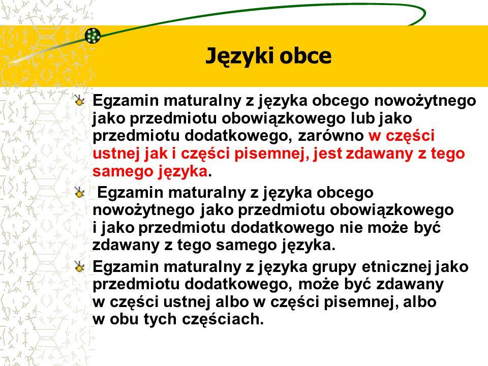 Języki obce Egzamin maturalny z języka obcego nowożytnego jako przedmiotu obowiązkowego lub jako przedmiotu dodatkowego, zarówno w części ustnej jak i