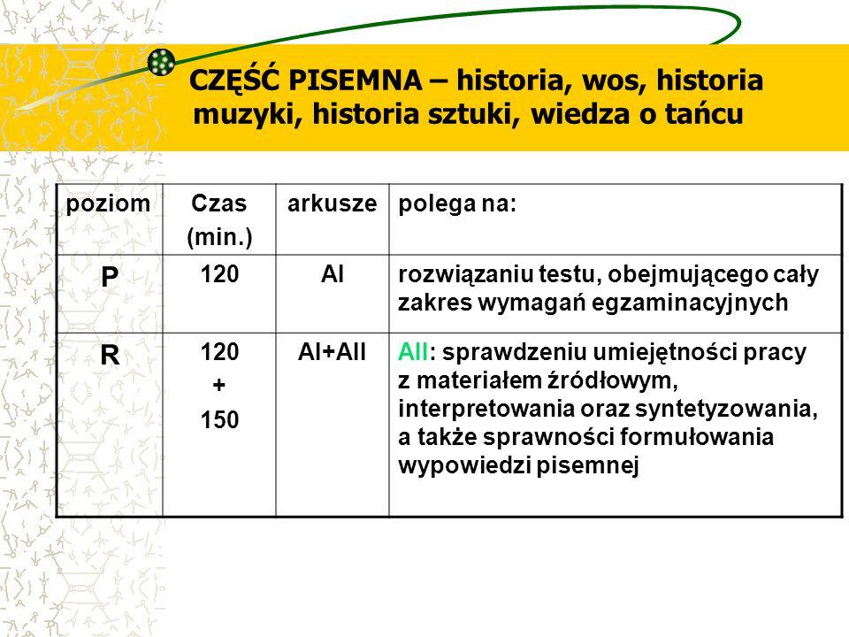 CZĘŚĆ PISEMNA – historia, wos, historia muzyki, historia sztuki, wiedza o tańcu poziomCzas (min.) arkuszepolega na: P 120AIrozwiązaniu testu, obejmują