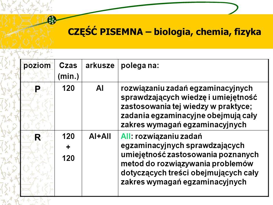 CZĘŚĆ PISEMNA – biologia, chemia, fizyka poziomCzas (min.) arkuszepolega na: P 120AIrozwiązaniu zadań egzaminacyjnych sprawdzających wiedzę i umiejętn