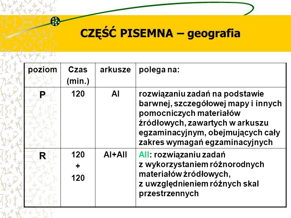 CZĘŚĆ PISEMNA – geografia poziomCzas (min.) arkuszepolega na: P 120AIrozwiązaniu zadań na podstawie barwnej, szczegółowej mapy i innych pomocniczych m