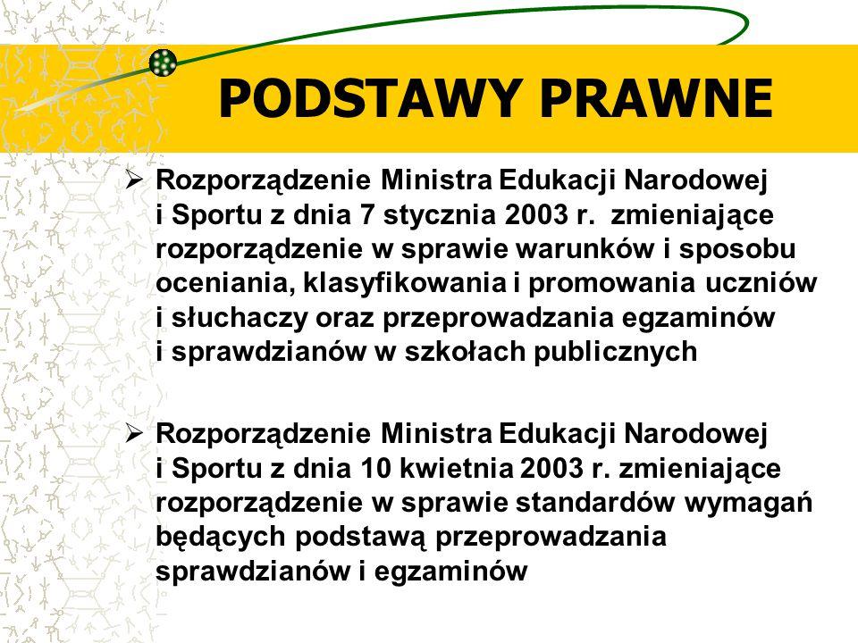 PODSTAWY PRAWNE  Rozporządzenie Ministra Edukacji Narodowej i Sportu z dnia 7 stycznia 2003 r. zmieniające rozporządzenie w sprawie warunków i sposob