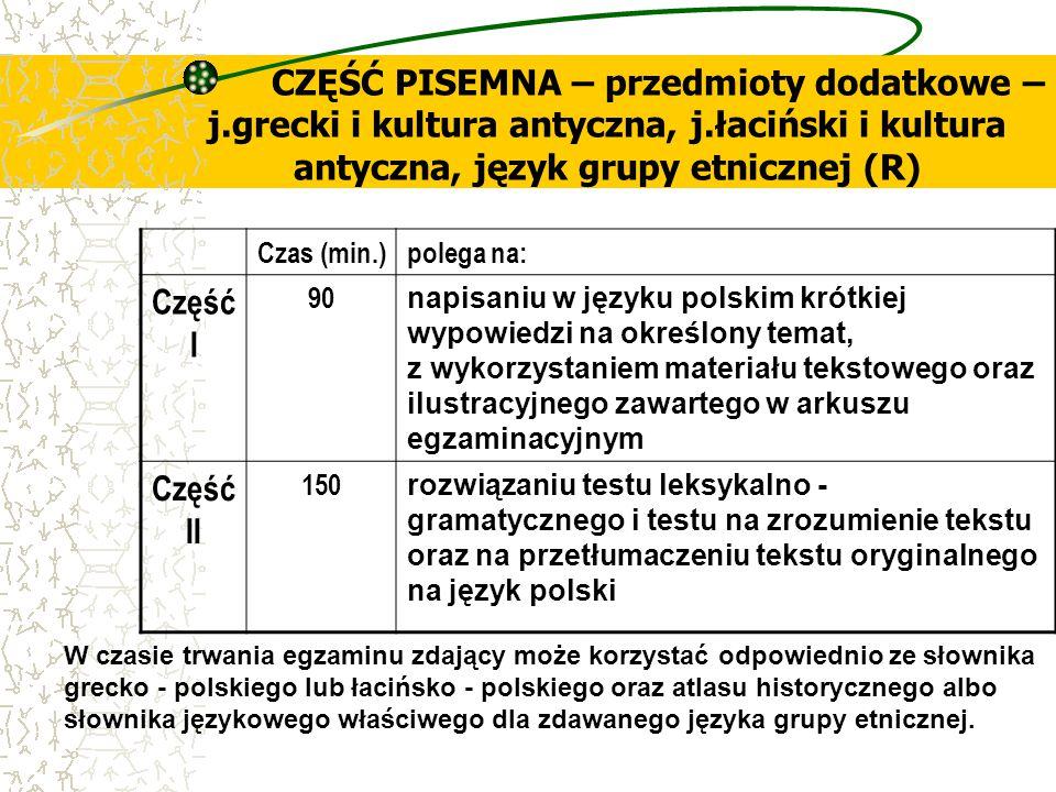 CZĘŚĆ PISEMNA – przedmioty dodatkowe – j.grecki i kultura antyczna, j.łaciński i kultura antyczna, język grupy etnicznej (R) Czas (min.)polega na: Czę