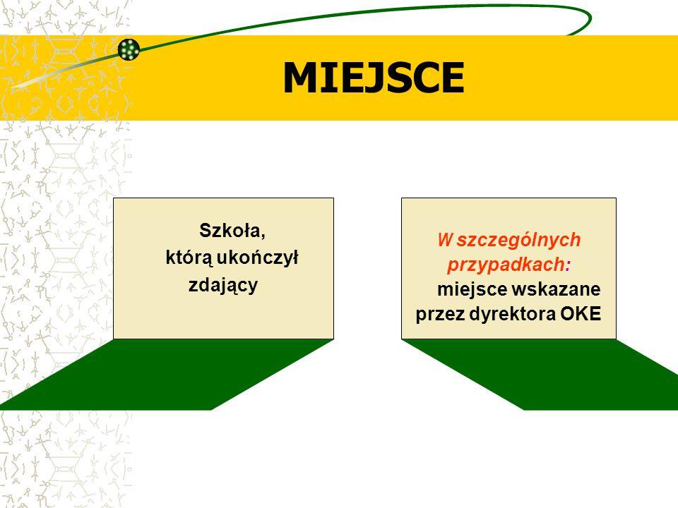 MIEJSCE Szkoła, którą ukończył zdający W szczególnych przypadkach: miejsce wskazane przez dyrektora OKE