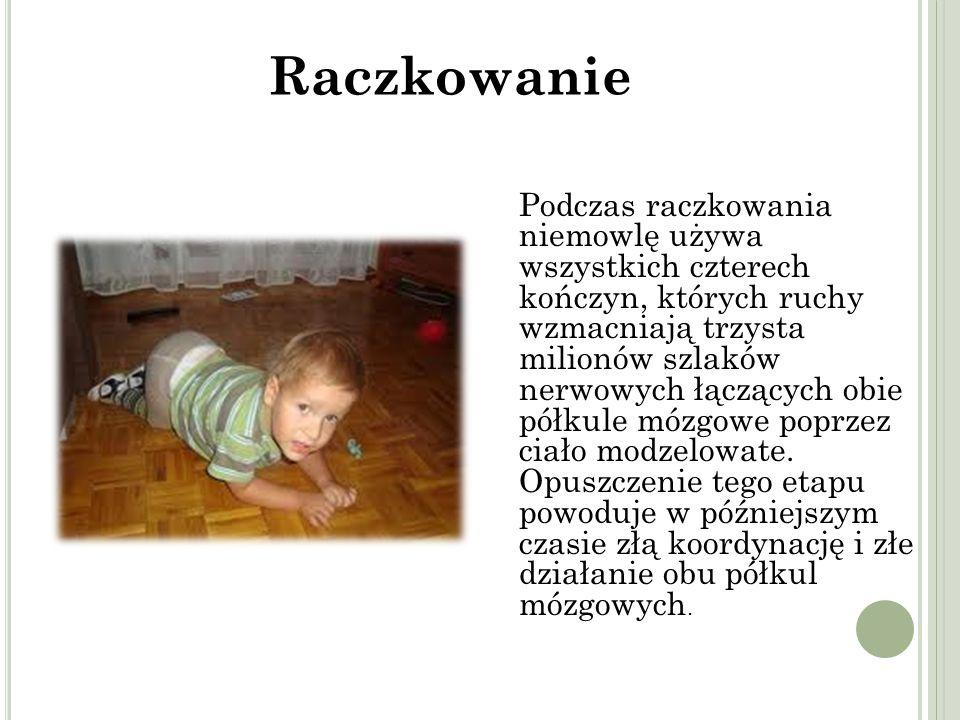 Podczas raczkowania niemowlę używa wszystkich czterech kończyn, których ruchy wzmacniają trzysta milionów szlaków nerwowych łączących obie półkule mózgowe poprzez ciało modzelowate.