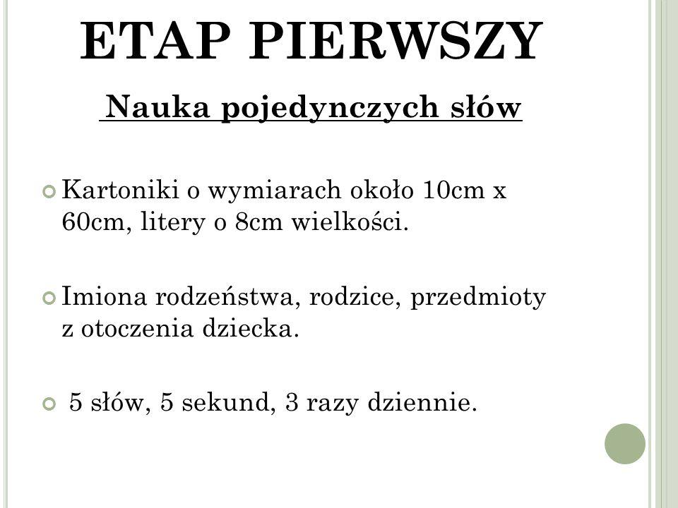 ETAP PIERWSZY Nauka pojedynczych słów Kartoniki o wymiarach około 10cm x 60cm, litery o 8cm wielkości.