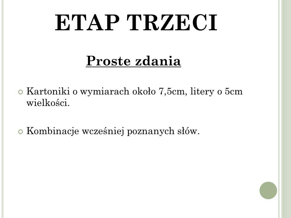 ETAP TRZECI Proste zdania Kartoniki o wymiarach około 7,5cm, litery o 5cm wielkości.