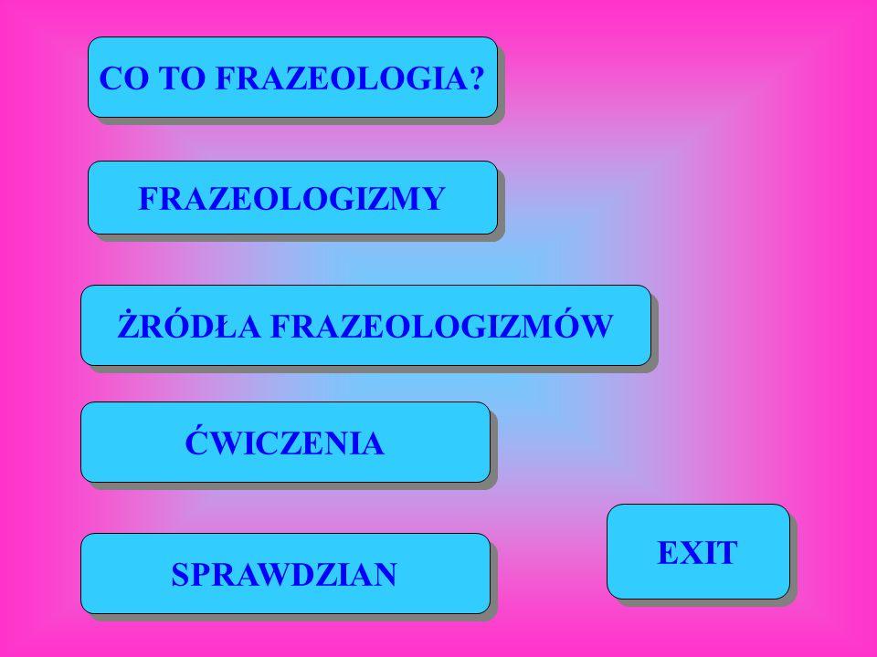 CO TO FRAZEOLOGIA? FRAZEOLOGIZMY ŻRÓDŁA FRAZEOLOGIZMÓW ĆWICZENIA SPRAWDZIAN EXIT